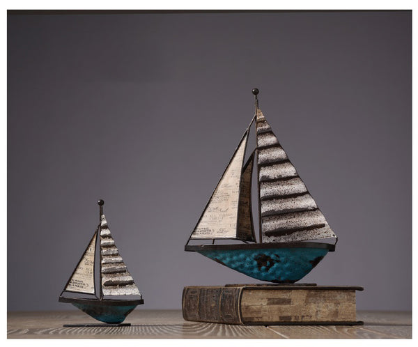 Metal Sailing Ships Home Accents - fourlinedesign