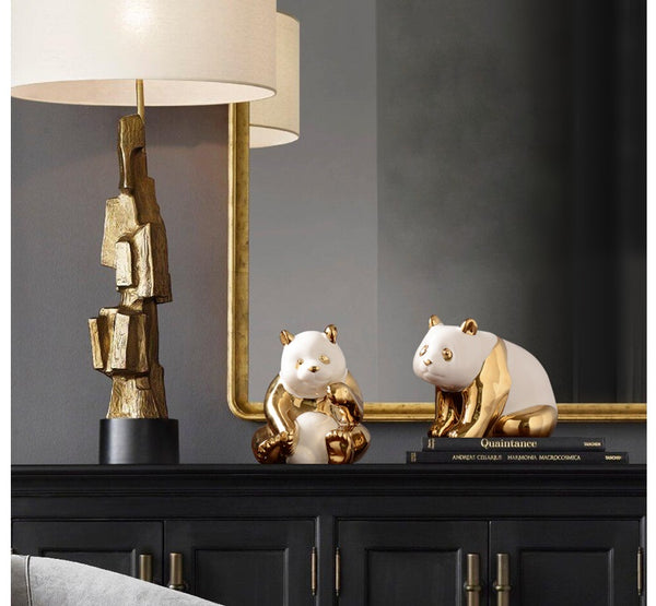 Gold-plated Cute Pandas Figurines - fourlinedesign