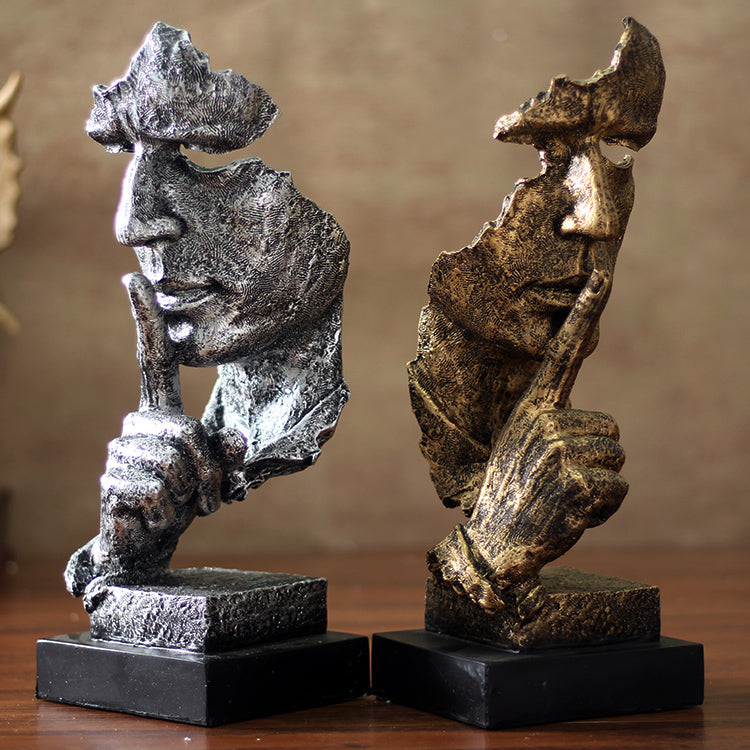 Human Faces Keeping Silence Figurines - fourline design