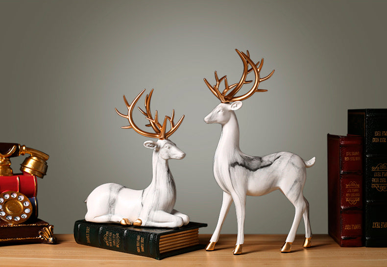 White Elks Figurines - fourlinedesign