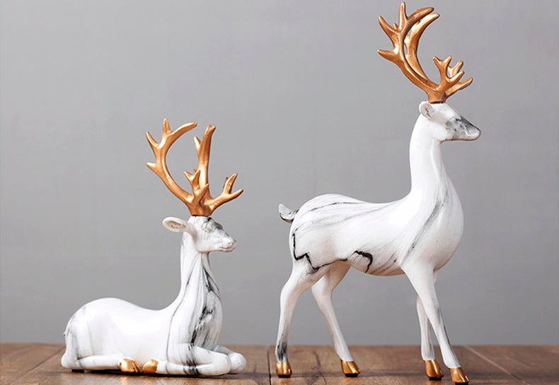 White Elks Ornaments - fourlinedesign