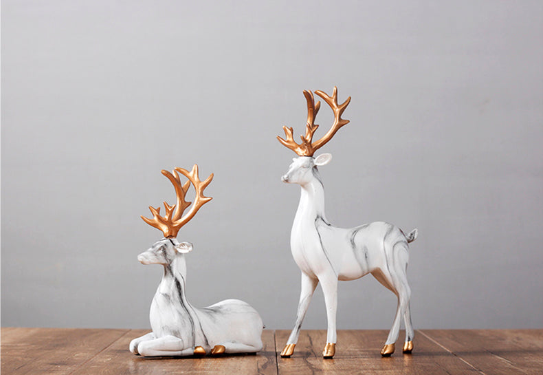 White Elks Ornaments - fourline design