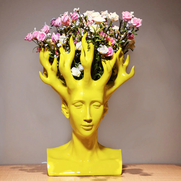Yellow Mali Head Flower Vase - fourlinedesign