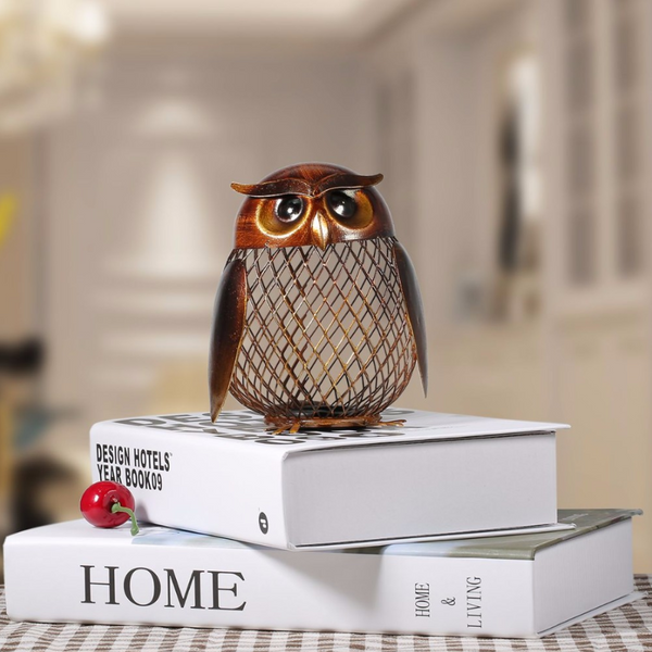 Owl Shaped Piggy Bank Figurines - fourlinedesign