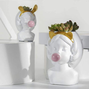 Bubble Gum Girl Flower Pot - fourlinedesign
