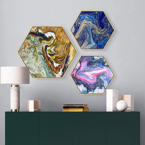 Glass Heart Hexagon Painting - fourlinedesign