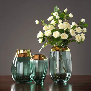 Green Glass Flower Vase - fourlinedesign