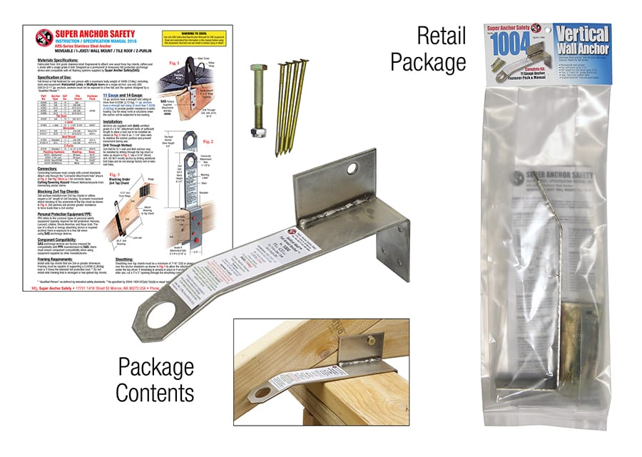 Super Anchor Vertical Wall Anchor & Fastener Kit For Roofs Up to 7/12 Pitch 1004