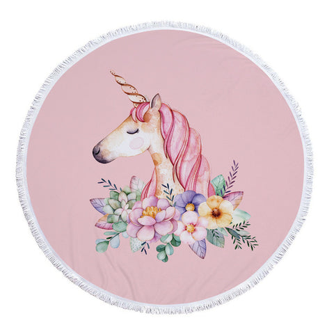 Flowers Unicorn Beach Towel