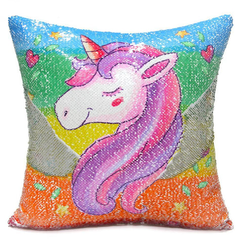 Reversible Sequins Unicorn Pillow Cover