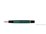 pelikan souveran fountain pen 14k 585 nib gold rhodium piston fill nib m400 green striped open