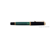 pelikan souveran fountain pen 14k 585 nib gold rhodium piston fill nib m400 green striped closed