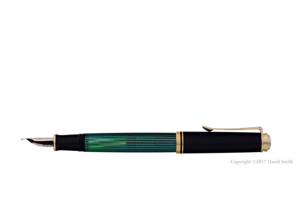 pelikan souveran fountain pen 14k 585 nib gold rhodium piston fill nib m400 green striped posted