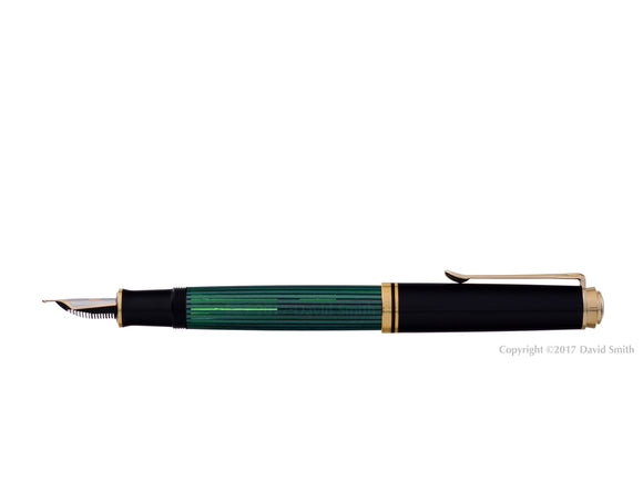 pelikan souveran fountain pen 14k 585 nib gold rhodium piston fill nib m600 green posted
