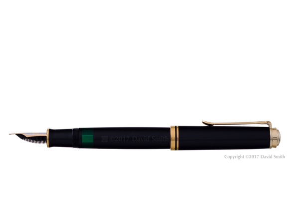 pelikan souveran fountain pen 18k 750 nib gold rhodium piston fill nib m800 black posted