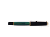 pelikan souveran fountain pen 18k 750 nib gold rhodium piston fill nib m800 green closed