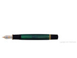 pelikan souveran fountain pen 18k 750 nib gold rhodium piston fill nib m800 green open