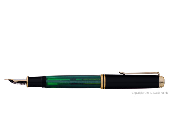 pelikan souveran fountain pen 18k 750 nib gold rhodium piston fill nib m800 green posted