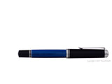 pelikan souveran fountain pen 18k 750 nib silver rhodium piston fill nib m805 palladium striped blue closed