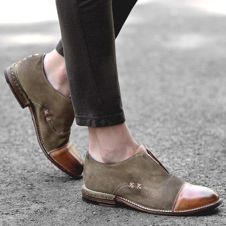 Women Cap Toe X Stitching Vintage Loafers