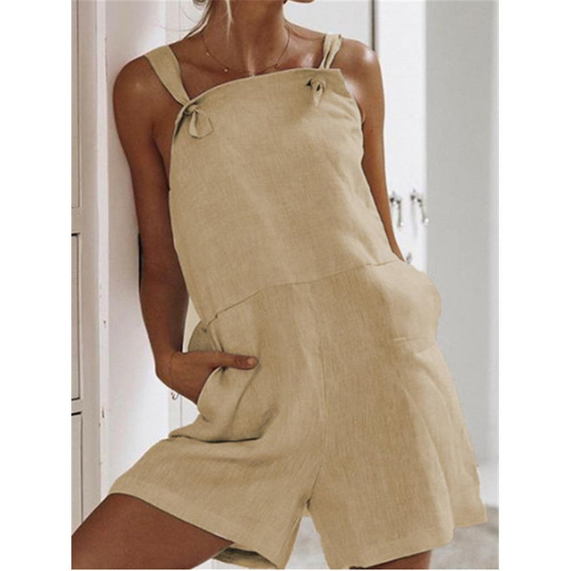 Solid Color Sling Pocket Cotton & Linen Jumpsuit