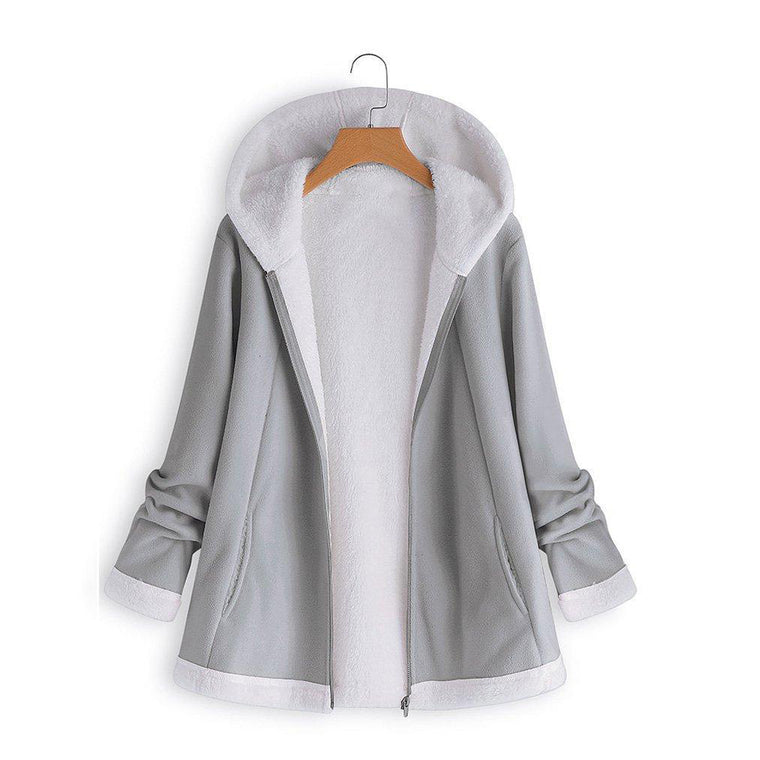 Casual Plus Size Hoodie Neckline Pockets  Long Sleeve Coats