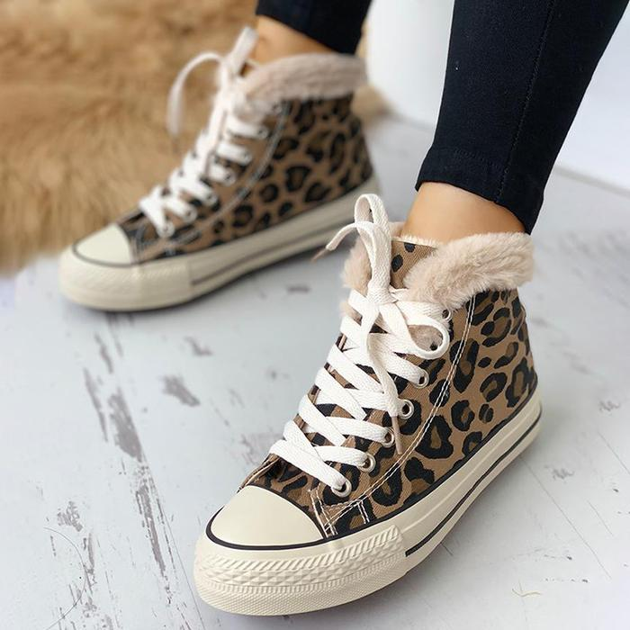 Women Casual Lace Up Fluffy Leopard Sneakers Boots