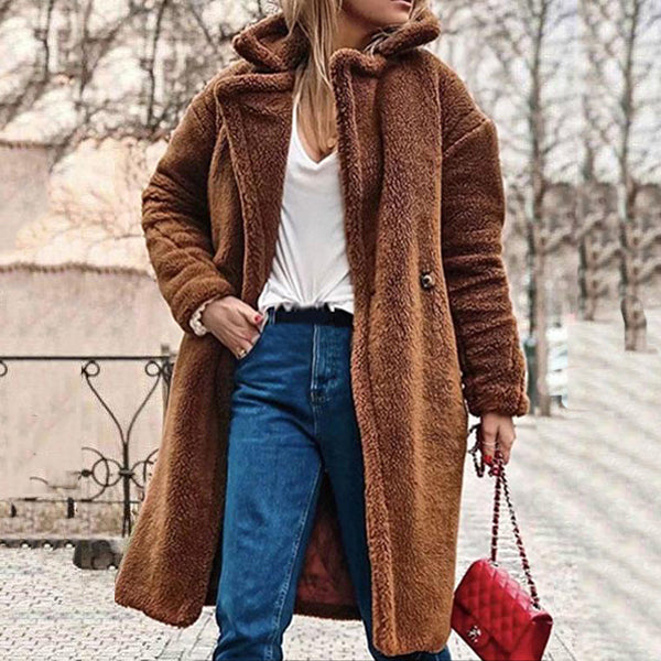 Plus Size Cashmere ButtonedTeddy Bear  Long Sleeve Coats