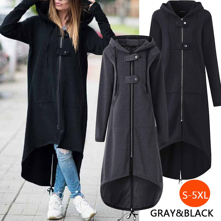 Hooded Zipper Asymmetrisch Long Coats Sweatshirt Dress
