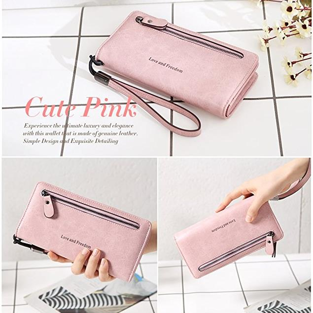 PU Leather 10 Card Slots Bifold Purse 5.5'' Cell Phone Pocket Bag