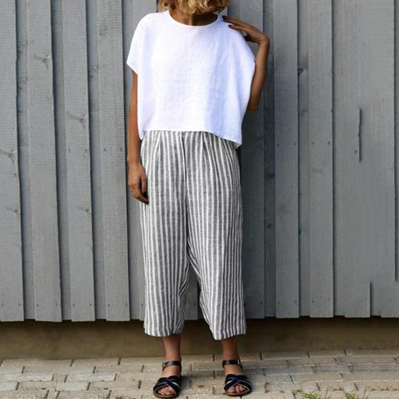 Casual Striped Nine-point Wide-leg Pants