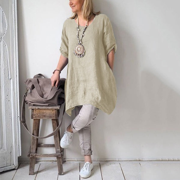 Irregular Leisure Loose Fitting Linen Shirt