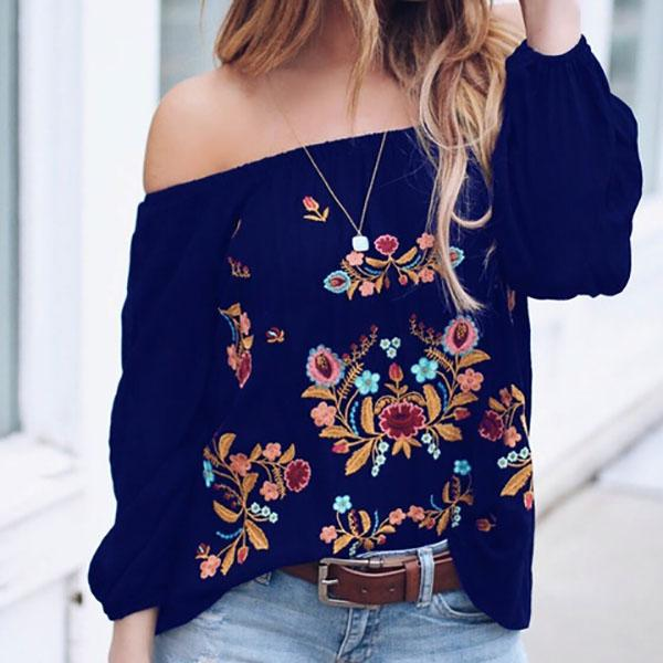 Plus Size Off-Shoulder Printing Loose Blouses