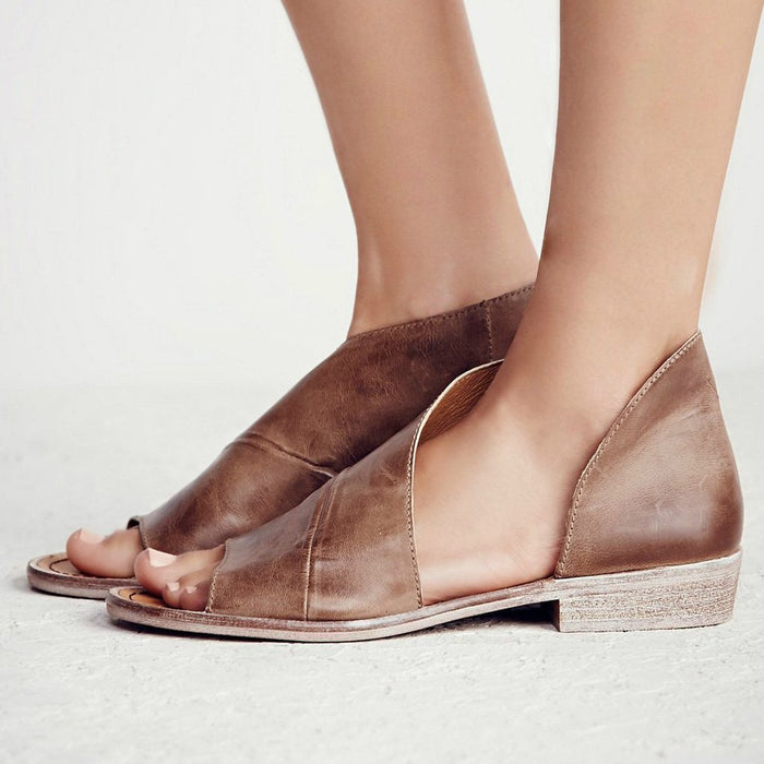 Casual PU Sandals Comfort Peep Top Shoes