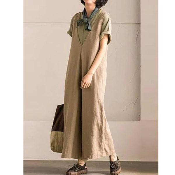 V-Neck Pockets Casual Linen Solid Plus Size Jumpsuits