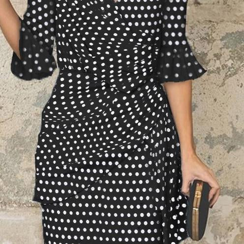 V-Neck Cutout Flounce Ruffle Trim Bust Darts Polka Dot Petal Sleeve Bodycon Dresses