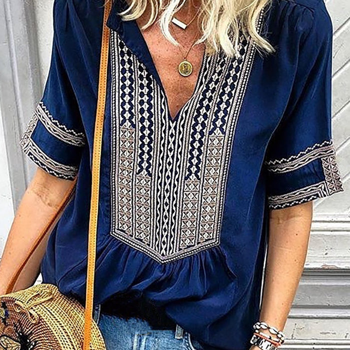 Blue Casual Printed Blouses & Shirt