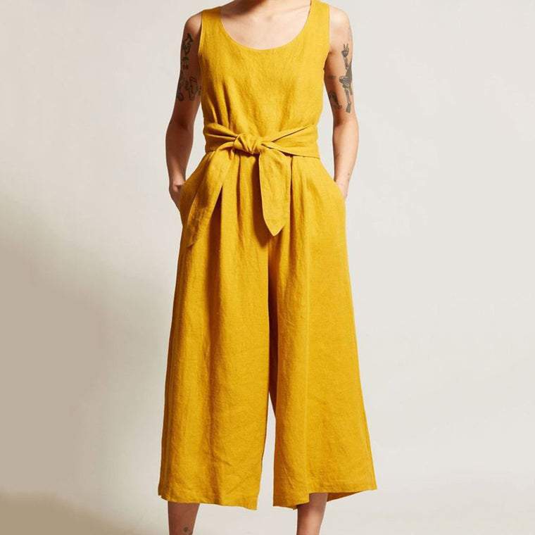 Plus Size Casual Pockets Sleeveless Jumpsuits