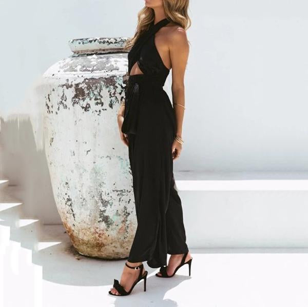 Sexy Halter Neck Lace-Up Jumpsuits