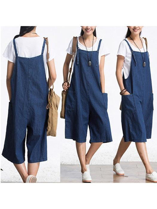 Plus Size Strap Harlan Loose Denim Jumpsuit