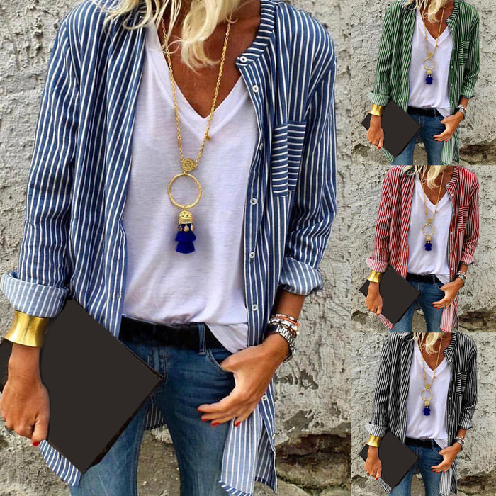 Casual Striped Print Long-Sleeved Shirt