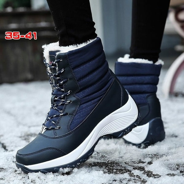 Warm Thick Bottom Platform Ankle Outdoor Lace-up Fur Snow Boots