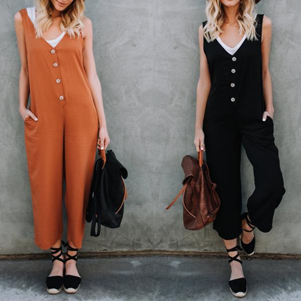 Women Casual Button Vintage Loose Jumpsuit