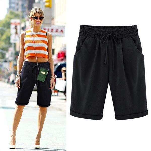 Summer Shorts Lace Up Elastic Waistband Loose Pants