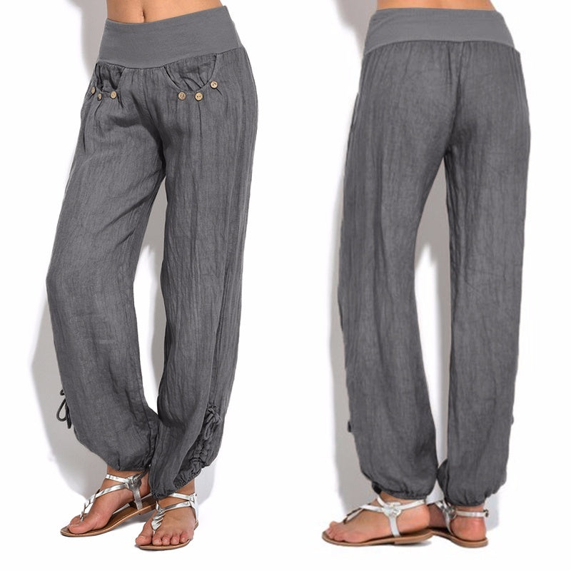 8293b248dd5 ... Women Plus Size Fashion Casual Loose Buttons Trousers Solid Color Pants  ...