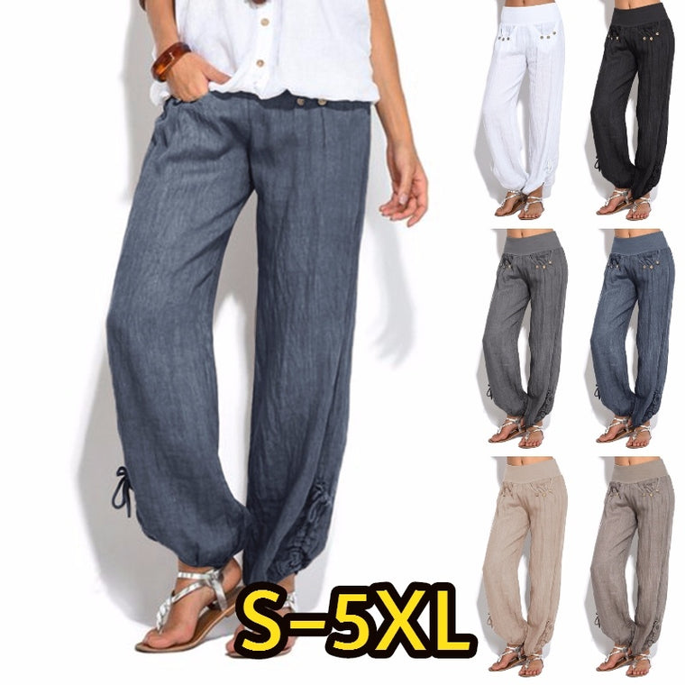 eb4a97688a6 Women Plus Size Fashion Casual Loose Buttons Trousers Solid Color Pants