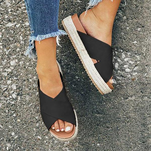 Casual Cross Belt Platform Slippers