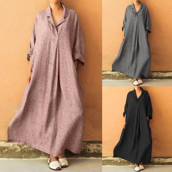 Plus Size Casual Long Sleeve Linen Cotton Dresses