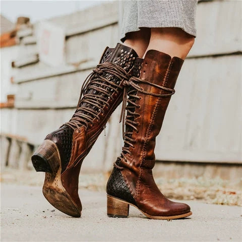 Vintage Lace-up Hollow-Out Color Block Boots Chunky Heel  Boots