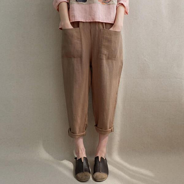 Women Plus Size  Casual Linen&Cotton Solid Long Pants